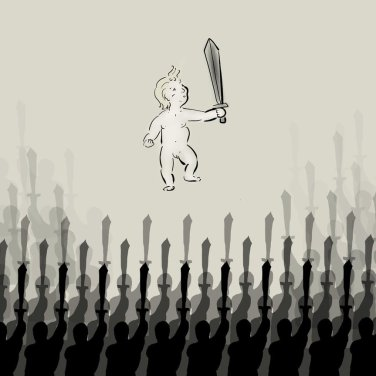 Bakklon the Plae Child with the black sword as he re-raises an army of militant-religious worshipers. Art by Caffeine.