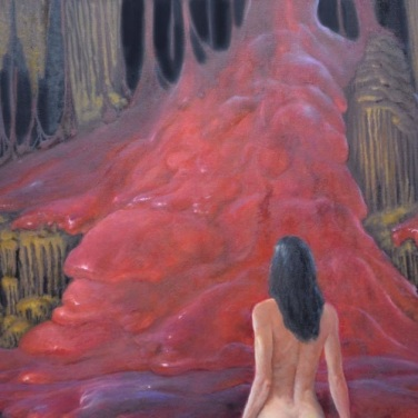A naked Lya gives herself to the greeshka (flames under the mountain). Artsist: Armand Cabrera