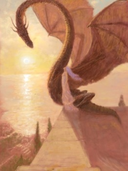 Daenerys Targaryen on the apex of the Great Pyramid with one of her dragons - by Marc Fishman.
