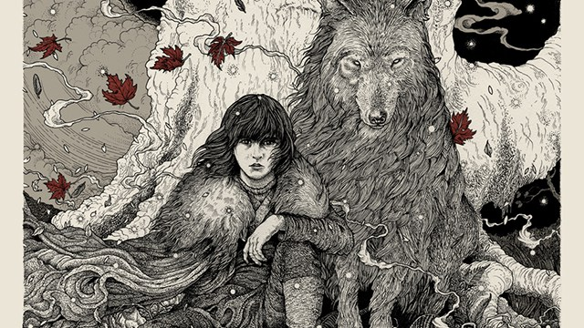 Bran and Summer before a weirwood. Artist: Richey Beckett
