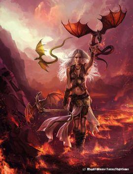Daenerys with black sword Drogon. Artist: Magali Villeneuve