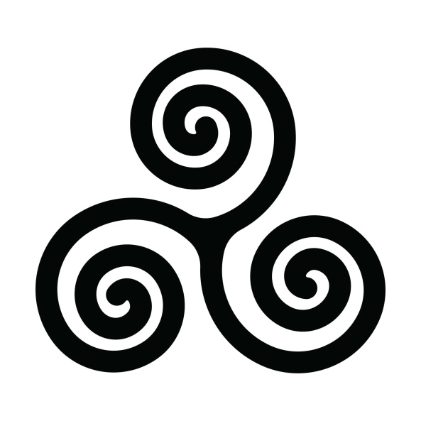 Triskelion; traditionally legs, but heads in the Cyrain-Daenerys version.