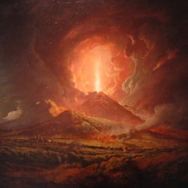 Eruption of Mount Vesuvius from Portici. Artist: Joseph Wright of Derby. 1774-1776.