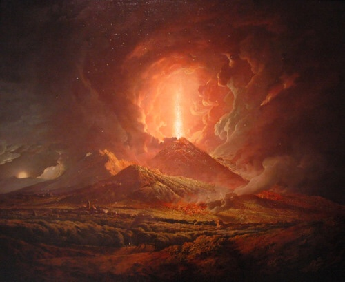 Eruption of Mount Vesuvius from Portici. Artist: Joseph Wright of Derby. 1774-1776.