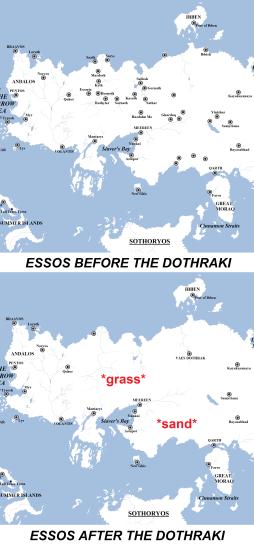 Original map by Werthead/Adam Whitehead. Updated with Dothraki impact by user Lavrentio.