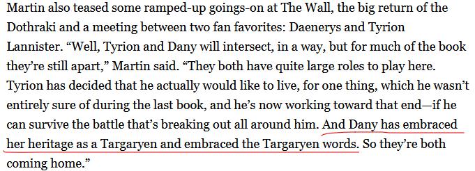 Daenerys accepts Targ words