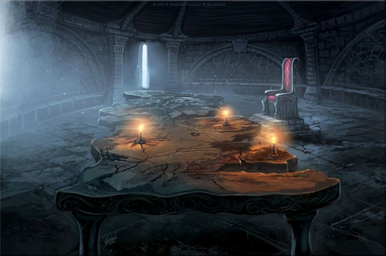 "Chamber of the Painted Table, also known in ASOIAF as the ""artifact"", which is a Siege Perilous. - Illustrated by Mariusz Gandzel. Fantasy Flight Games."