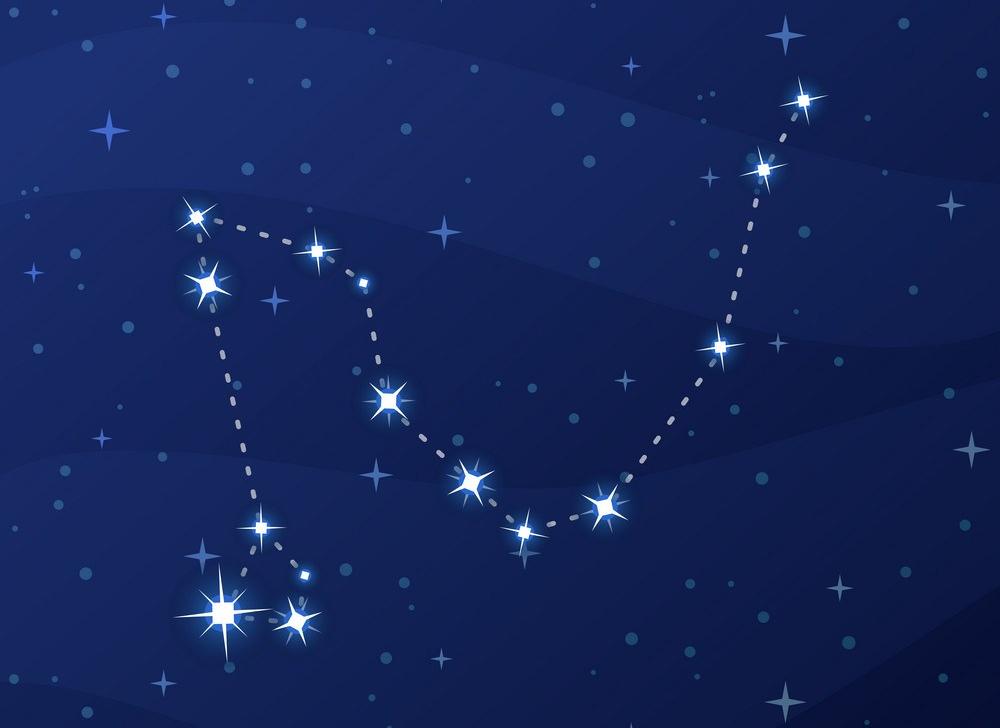 Constellation Draco, Dragon, night star sky
