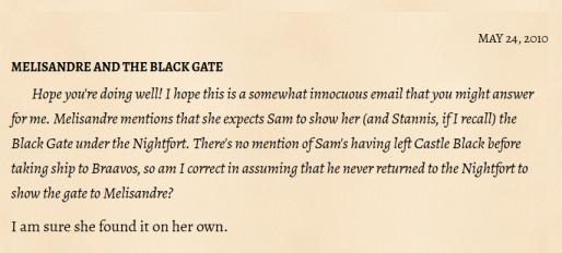 Melisandre Black Gate
